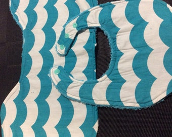 Dribble Bib & Burp Cloth Set - Teal