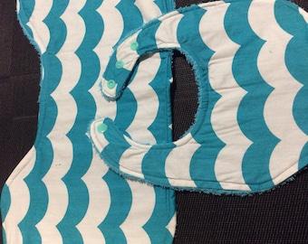 Dribble Bib & Burp Cloth Set - Teal