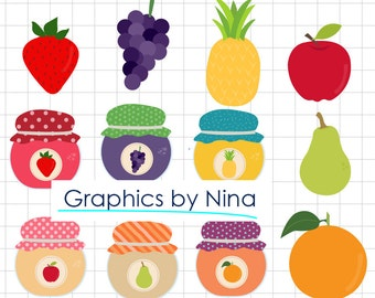 INSTANT DOWLOAD    Fruit Jam Clipart  Scrapbook for Personal and Commercial Use