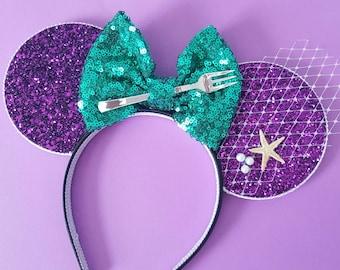 Mermaid Mouse Ears Headband | Mouse Ears |Mermaid Headband Minnie Ears | Dinglehopper Mouse Ears|