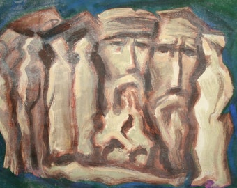 Vintage Abstract Oil Painting, Figures
