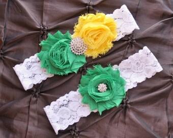 Wedding Garter, Bridal Garter Set - White Lace Garter, Keepsake Garter, Toss Garter, John Deere Garter, Green Yellow Wedding Garter