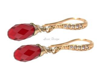Red, Swarovski, Earrings, Siam Red, cubic zirkonia, 3 material choices, womans, boho, boheme, elegant, rocker,fashionable - Free shipping!