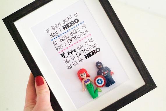 Superhero Lego Frame / Disney Princess Lego Gift Present