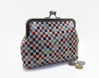Metal Frame Purse / Metal Frame Clutch / Clutch purse / bag / Kisslock 6 inch  - Multi-coloured Medium Squares / Green Dots