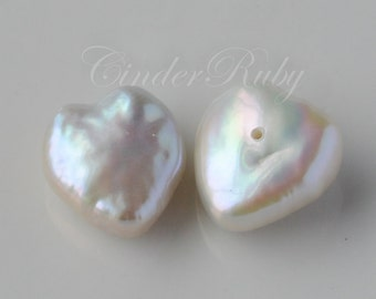 White Heart Shaped Fresh Water Pearls,White Fancy Baroque Pearls,Drilled in 4 Different Ways,June Birthstone