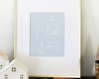 There's No Place Like Home For The Holidays Illustrated Print