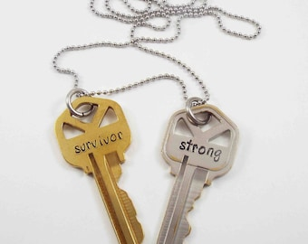 Two Key Necklace, Vintage Keys Necklace, Survivor Key, Stamped Necklace, Inspirational Necklace, Word Key, Two Keys, Personalized Necklace