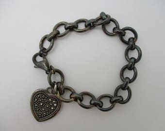 Sterling Silver Tiffany Inspired Marcasite Heart Tag Cable Link Bracelet 7 1/2 Inches Long
