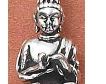 Lotus Buddha Sterling Silver Charm Pendant Yoga Jewelry -- Complimentary Ribbon or Cord