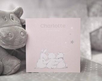 Invitation birth Noukie's collection of stars powder pink