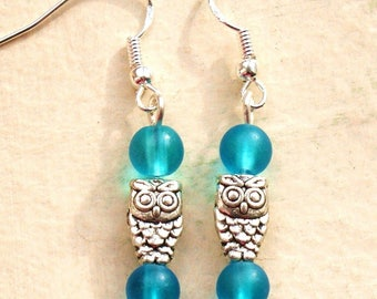 Owl Earrings with Blue Glass Beads and Sterling Silver Hooks New Drops LB41