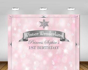 Winter Onederland Wonderland, Party Decorations, Snowflakes Birthday Party, Pink and Silver, Princess Birthday, Backdrop, Poster, Sign