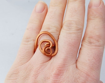 galaxy statement copper ring hammered ring swirl ring