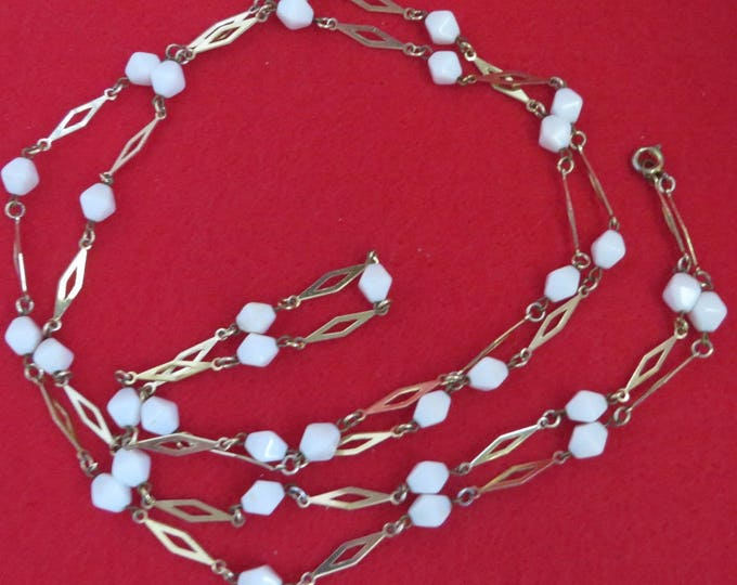 White Bead Flapper Necklace, Vintage Jewellery, Goldtone Long Beaded Necklace, Versatile Costume Jewelry Gift Idea, Gift Boxed