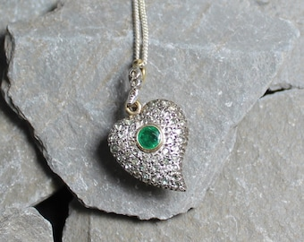 Antique Georgian Gold Silver Emerald & Diamond Locket Back Witches Heart Pendant