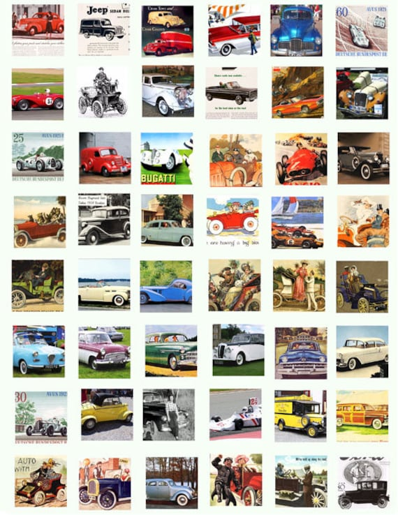 antique vintage classic cars trucks clip art digital download collage sheet 1 inch squares graphics images pendant printables