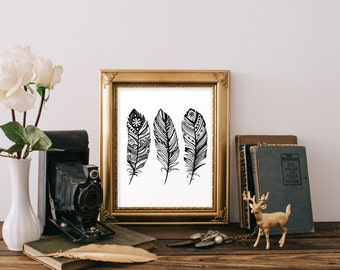 Feather Artwork Feather Art Print Feather Decor Black Feathers Bohemian Decor Bohemian Artwork Feather Wall Decor Bohemian Art BD-239