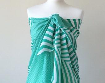 Swimwear Wrap Pareo, Beach Cover Up, Summer Scarf, Chiffon Scarf, Mint Chevron Sarong, Beach Sarong Wrap, Geometric Scarf, Women's Gift