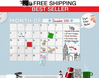 Dry Erase Calendar Decal - HUGE! Modern Dry Erase Monthly with Memo Wall Calendar - White board /Dry Erase Decal - Large Calendar - Todeco
