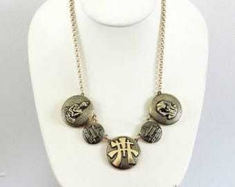 Signed Asian Egyptian Figural Necklace Vintage
