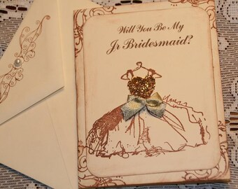 Will You Be My Jr Bridesmaid Card - Vintage Wedding