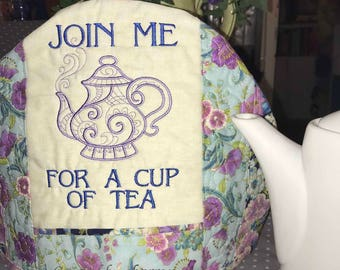 Embroidered and Insulated Tea Cozy -- Join Me for a Cup of Tea