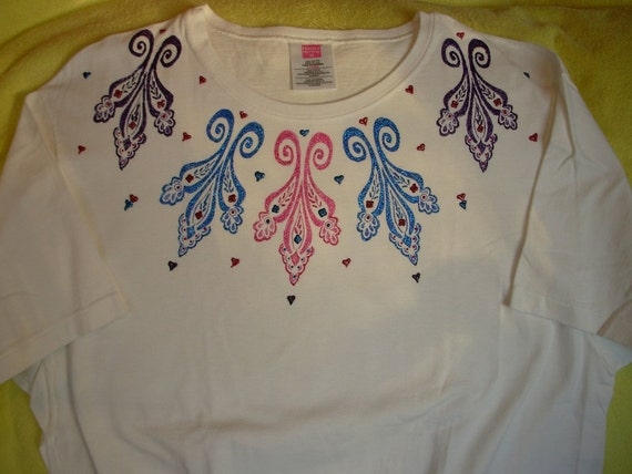 Women Xl T Shirt Sparkling Paisley Print Is Hand Painted With