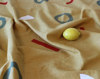 Hand Screen Printed Mustard Linen Throw Blanket Table Cloth