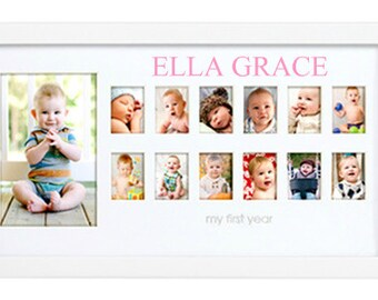 Baby's First Year Picture Frame, Baby Month Photo Frame, Personalized Baby Picture Frame, Baby Age Photo Frame, Baby Shower Gift