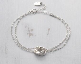 Sterling Silver Russian Ring Bracelet - Linked Circle Bracelet - Eternity Circle Bracelet - Interlocking Bracelet - 30th Birthday Gift