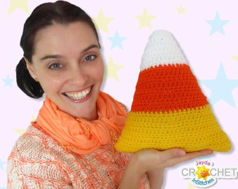 Candy Corn Pillow / Cushion - Crochet Pattern PDF - Jayda InStitches