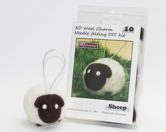 Needle Felting DIY Kit - Sheep 3D Wool Charm - Ship from USA