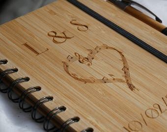 Personalized wooden guest book, alternative wedding engraved guest book, rustic wedding