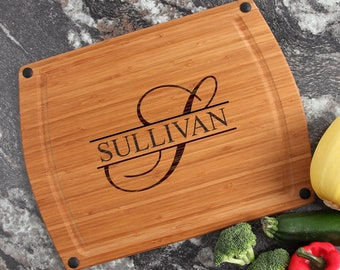 Cutting Board, Thin, Lightweight, Monogram, Personalized Wedding Gift, Custom Engraved Bamboo Cutting Board, Wedding Gifts-17 x 13 D25