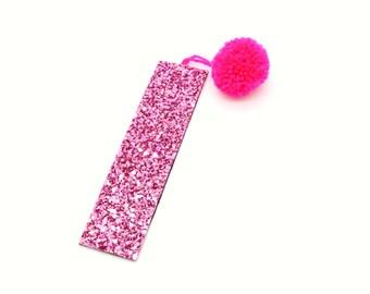 Pink Pom Pom Glitter Bookmark