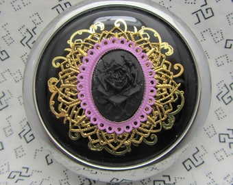 Compact Mirror Black Rose on Black Comes With Protective Pouch Black Rose Compact Mirror