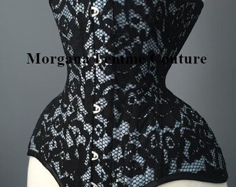 """Custom colour READY TO WEAR sizes 18"""" - 26"""" Antique blue Black lace overlay tightlacing waist training underbust corset"""