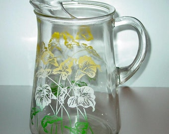 Vintage Glass Pitcher with Ice Lip, Yellow Flowers, Green & White Leaves