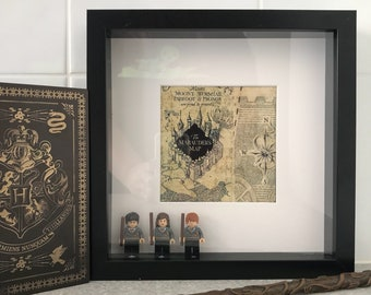 Harry Potter Marauder's Map Minifig Shadowbox - Harry Potter, Hermione Granger and Ron Weasley