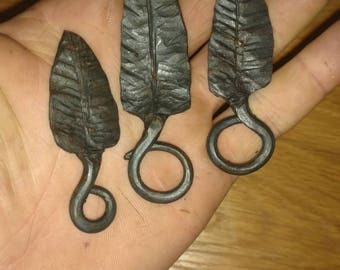 Hand forged leaf keychains