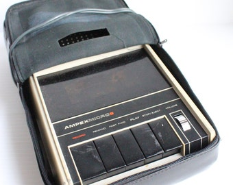 Vintage AMPEX Micro 9 Cassette Player, Tape Recorder - GREAT for PARTS - not for sound quality, vintage electronics, vintage supply, retro