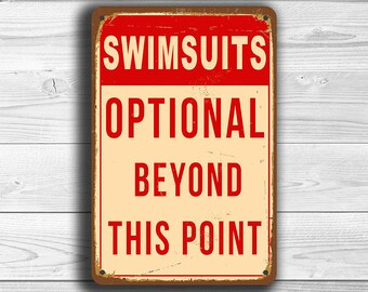 SWIMSUITS OPTIONAL POOL Sign, Pool Signs, Vintage style Pool Sign, Pool sign, Swimming pool sign, Outdoor Pool Signs, Pool Decor, pool party