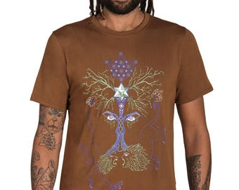 Psychedelic T-shirt-Tree Of Life-Graphic T-shirt-Festival Clothing- Puppets-occult-Geometric Print-Visionary-Wiccan-Roots-Sacred Geometry