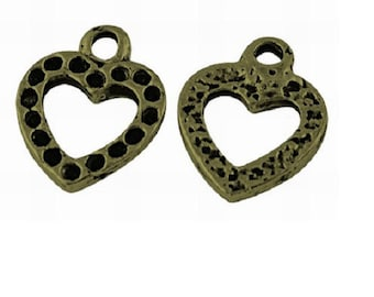 Set of 10 charms worked heart metal bronze