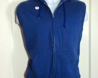 1980's deadstock sleeveless Acrylic Cotton zip-up Hoody Sweatshirt size Medium muscle shirt Blue nwt nos made in USA