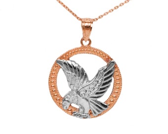 10k Rose Gold Eagle Pendant