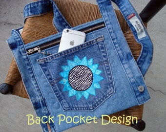 Aqua Sunflower Quilted Waistband Pocket Hip Purse made with recycled denim