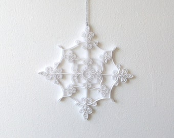 White Paper Snowflake, 6.5in Paper Quilled Snowflake, Christmas Snowflake, Christmas Ornament, Quilled Christmas Decoration, Paper Quilling