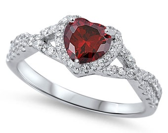 Women Sterling Silver Dark Red Heart CZ Solitaire Engagement Ring 8MM(SNRC105138-GN)